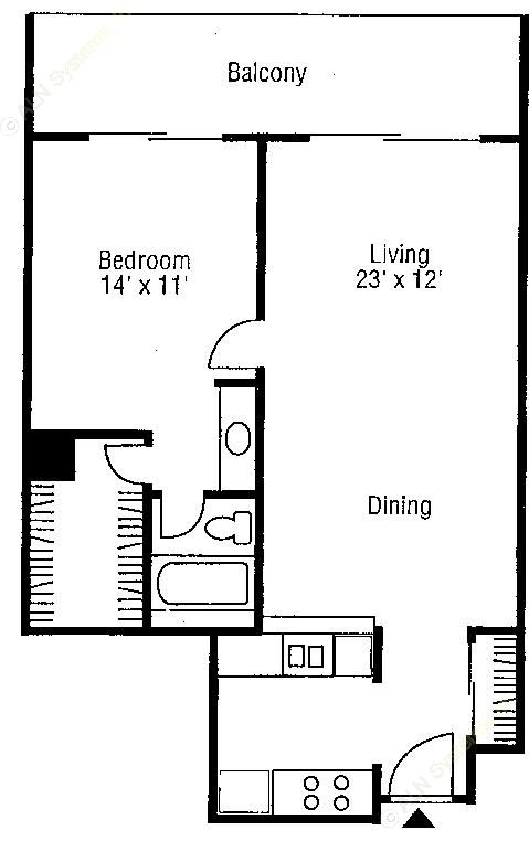 715 sq. ft. Chablis floor plan