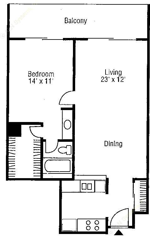 715 sq. ft. A3 floor plan