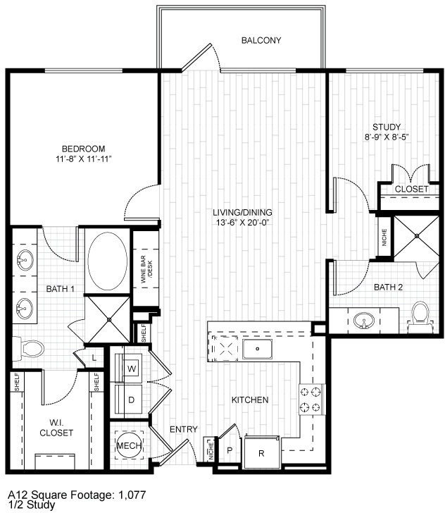 1,077 sq. ft. A12 floor plan