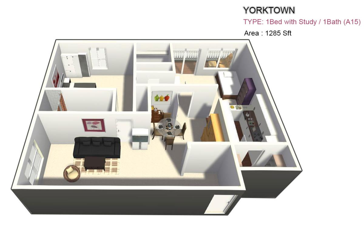 1,350 sq. ft. 3X2 floor plan