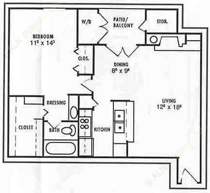 744 sq. ft. Jasmine floor plan