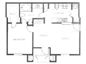 791 sq. ft. 3rd FLR/60% floor plan