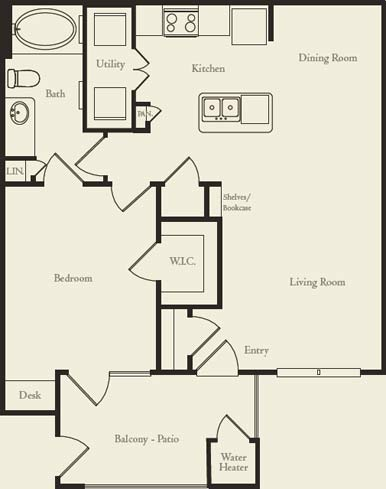769 sq. ft. to 785 sq. ft. A2 floor plan