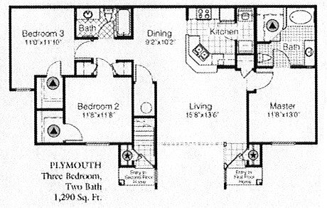1,290 sq. ft. to 1,388 sq. ft. E floor plan