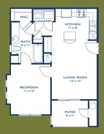 607 sq. ft. Frio floor plan