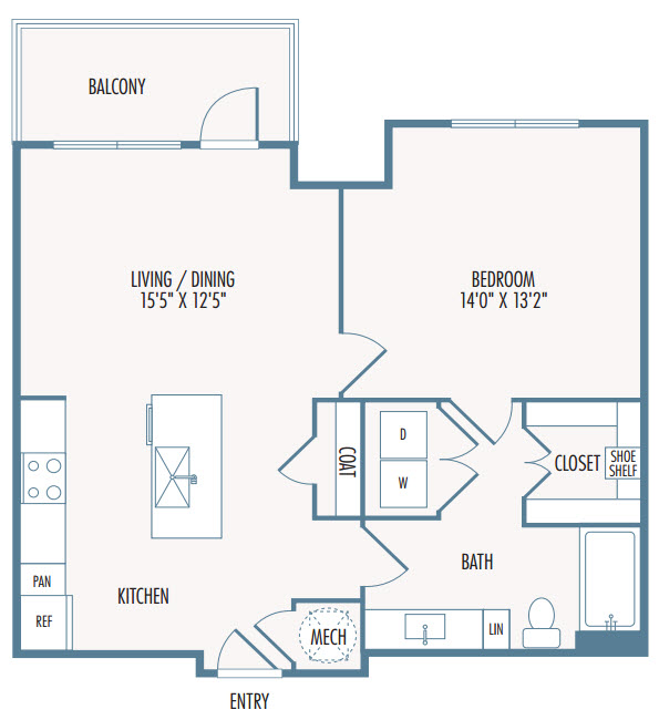 773 sq. ft. A3 floor plan