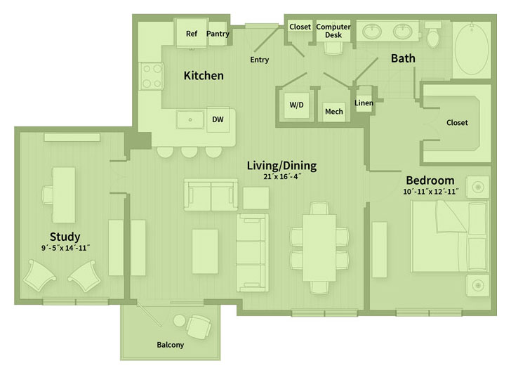 1,027 sq. ft. C floor plan