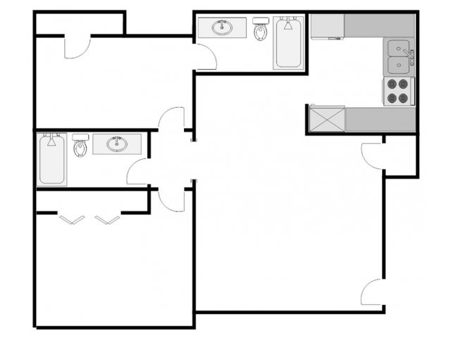 1,050 sq. ft. H floor plan
