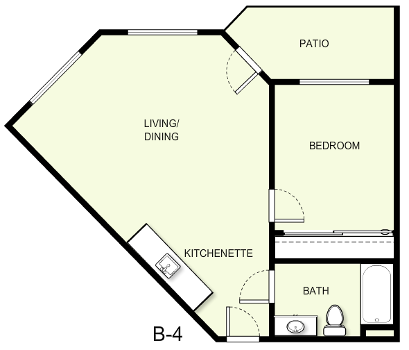 612 sq. ft. B4 floor plan