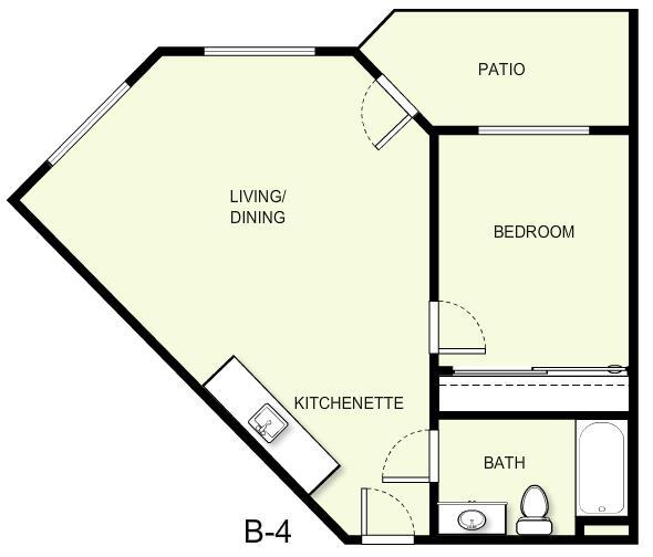 612 sq. ft. B4 floor plan