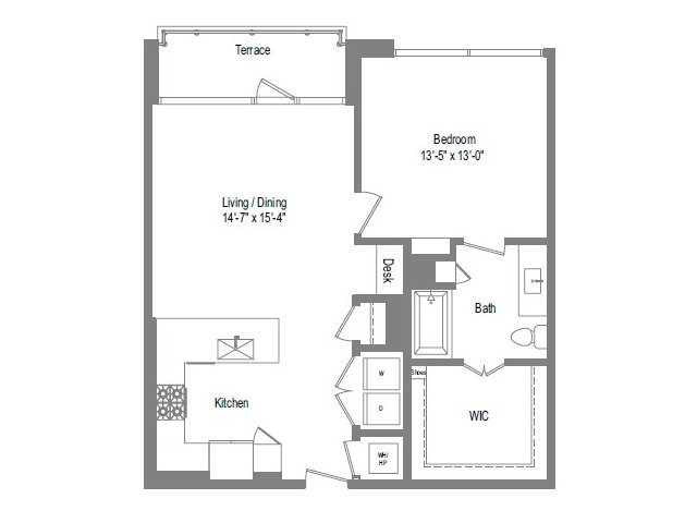 896 sq. ft. A6 floor plan