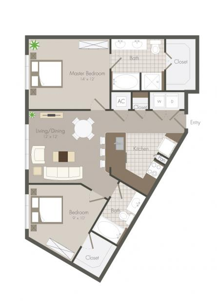 975 sq. ft. Lillian floor plan