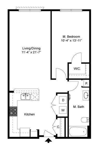 741 sq. ft. A1 Mkt floor plan