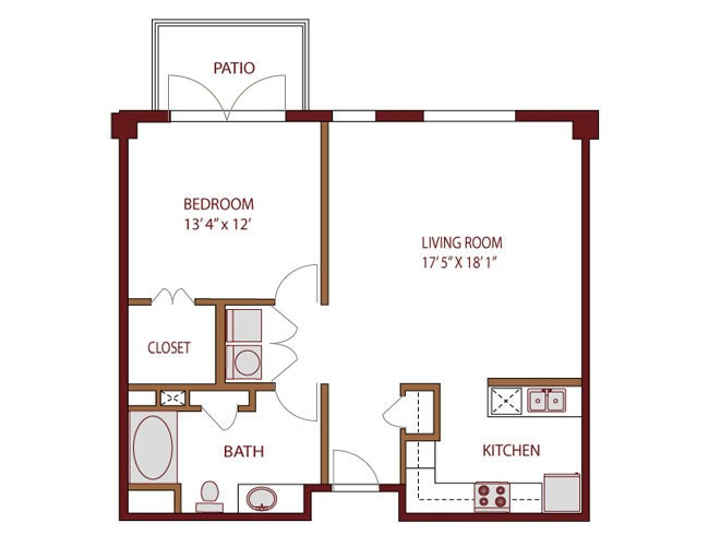 901 sq. ft. COMAL floor plan