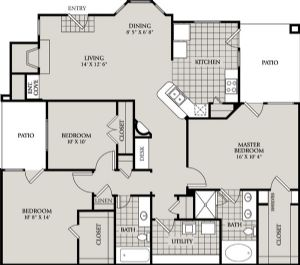 1,415 sq. ft. D2 floor plan