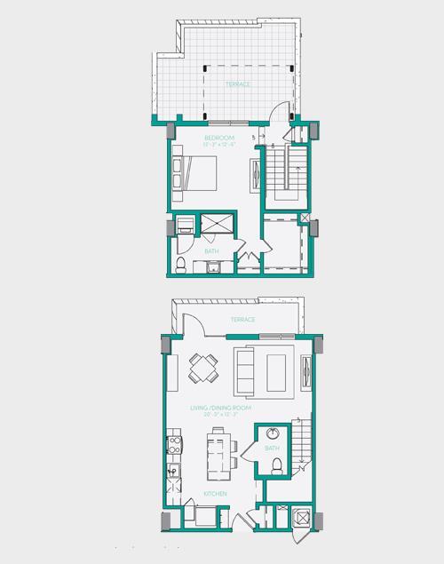1,047 sq. ft. A7.2 floor plan