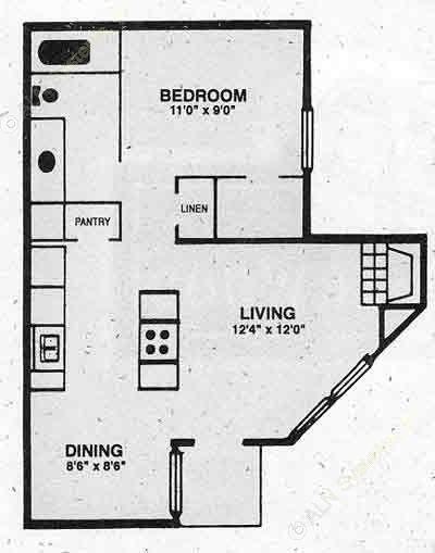545 sq. ft. A-1 floor plan