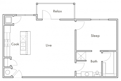 821 sq. ft. A3 floor plan