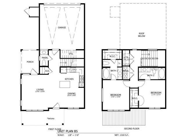 1,311 sq. ft. THB.5GG floor plan