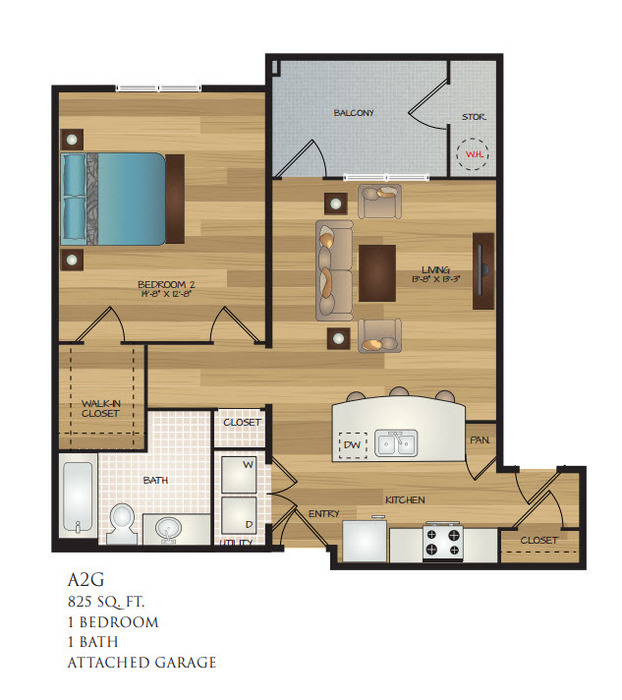 825 sq. ft. A2G floor plan