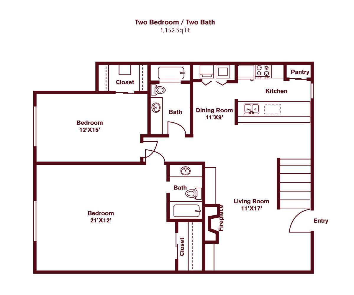 1,180 sq. ft. floor plan