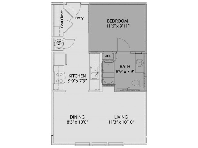 600 sq. ft. 60% floor plan