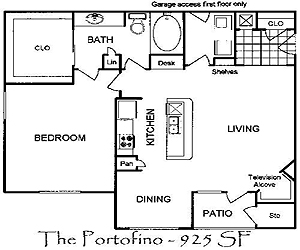 850 sq. ft. Portofino floor plan