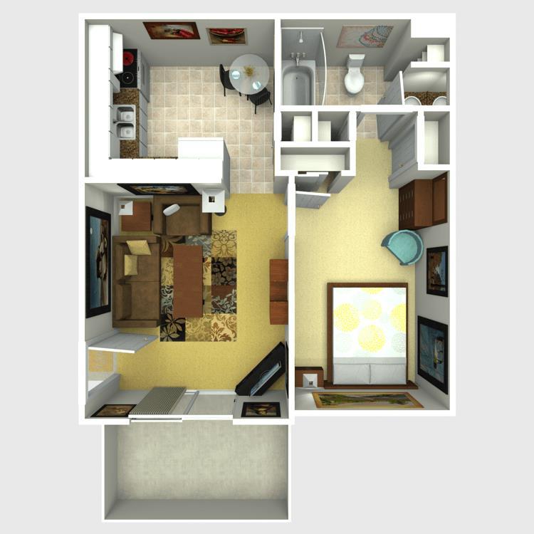 498 sq. ft. Biscayne floor plan