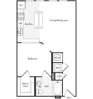 643 sq. ft. E1.1 floor plan