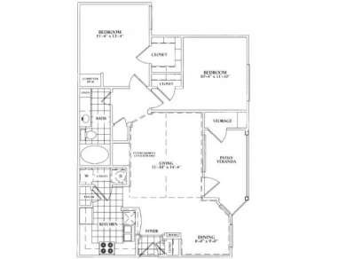 1,048 sq. ft. C floor plan
