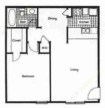 558 sq. ft. A1 floor plan