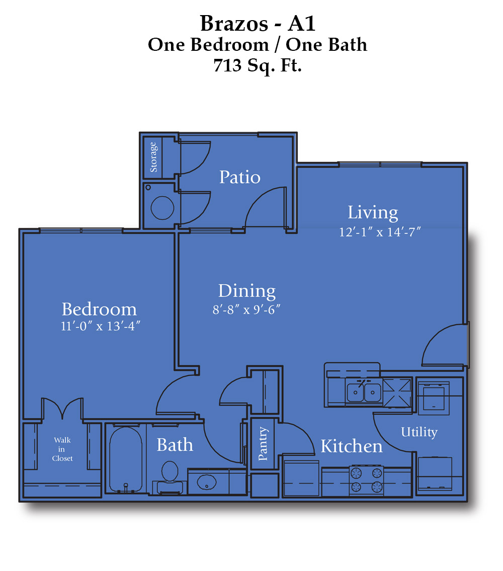 713 sq. ft. Brazos floor plan