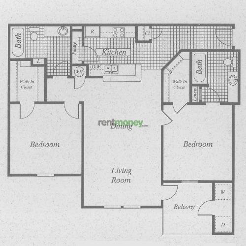 974 sq. ft. B/50% floor plan