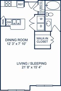 717 sq. ft. Athens floor plan