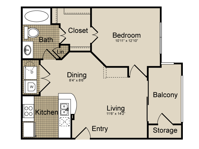 650 sq. ft. Aries   (A1) floor plan