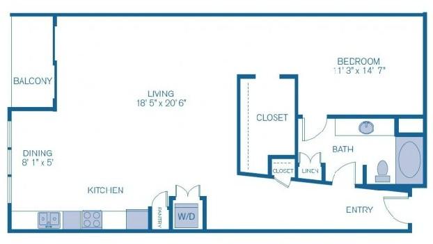 1,056 sq. ft. L8 floor plan