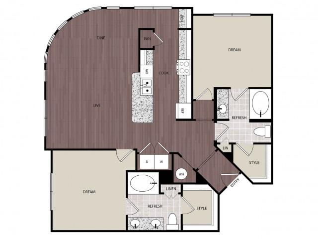 1,301 sq. ft. B4 floor plan
