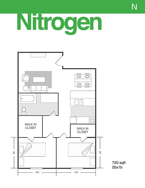 720 sq. ft. Nitrogen floor plan