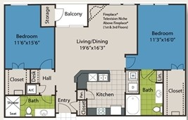 1,151 sq. ft. B2 floor plan