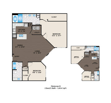 1,404 sq. ft. Mariposa III floor plan