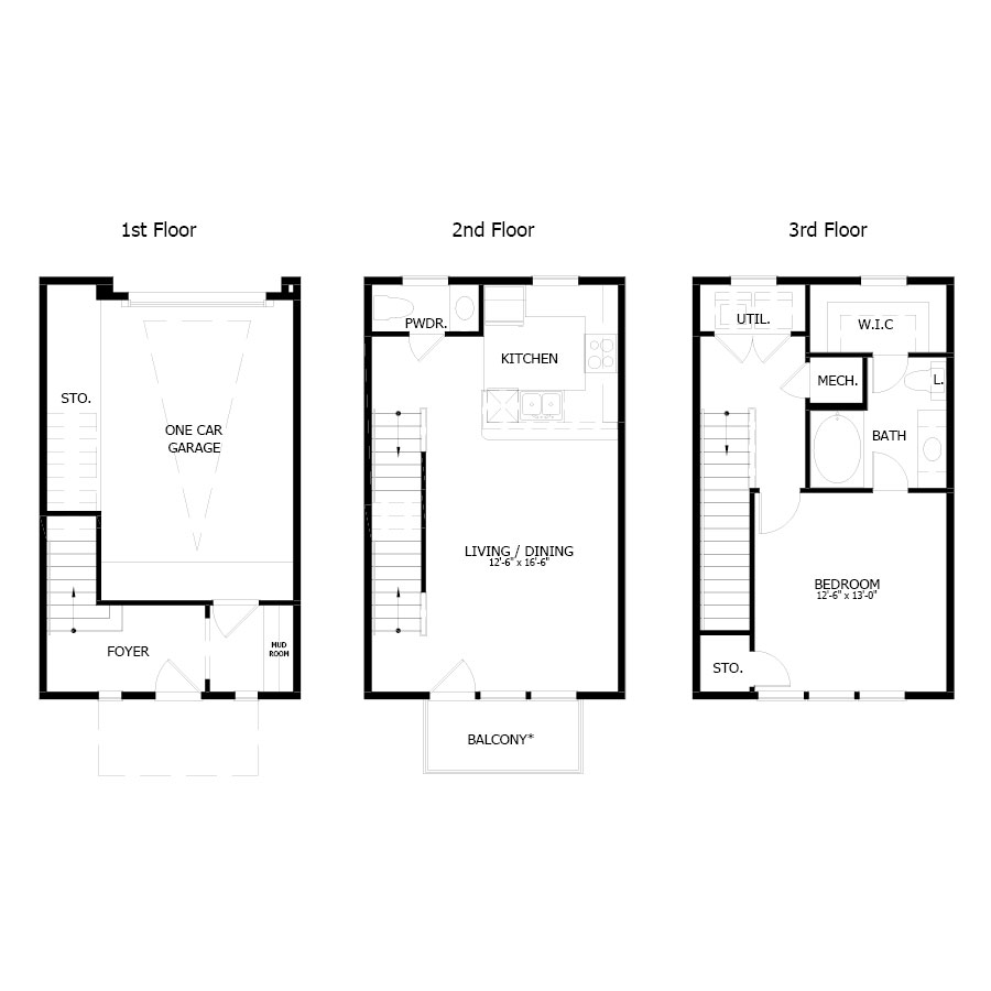 1,035 sq. ft. THA1G floor plan
