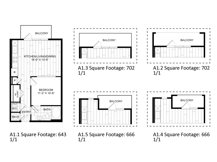 643 sq. ft. to 702 sq. ft. A1.1 floor plan