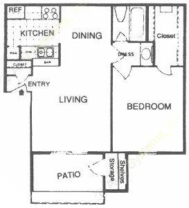 621 sq. ft. C floor plan