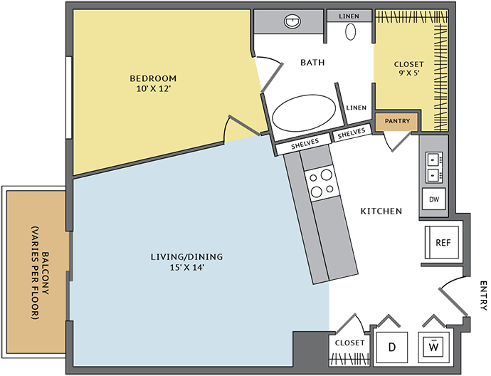760 sq. ft. 11D floor plan