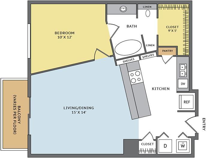 760 sq. ft. 11D floor plan