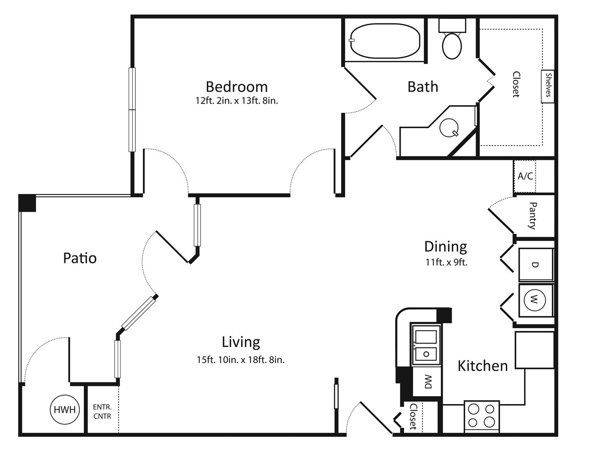 812 sq. ft. A2 floor plan
