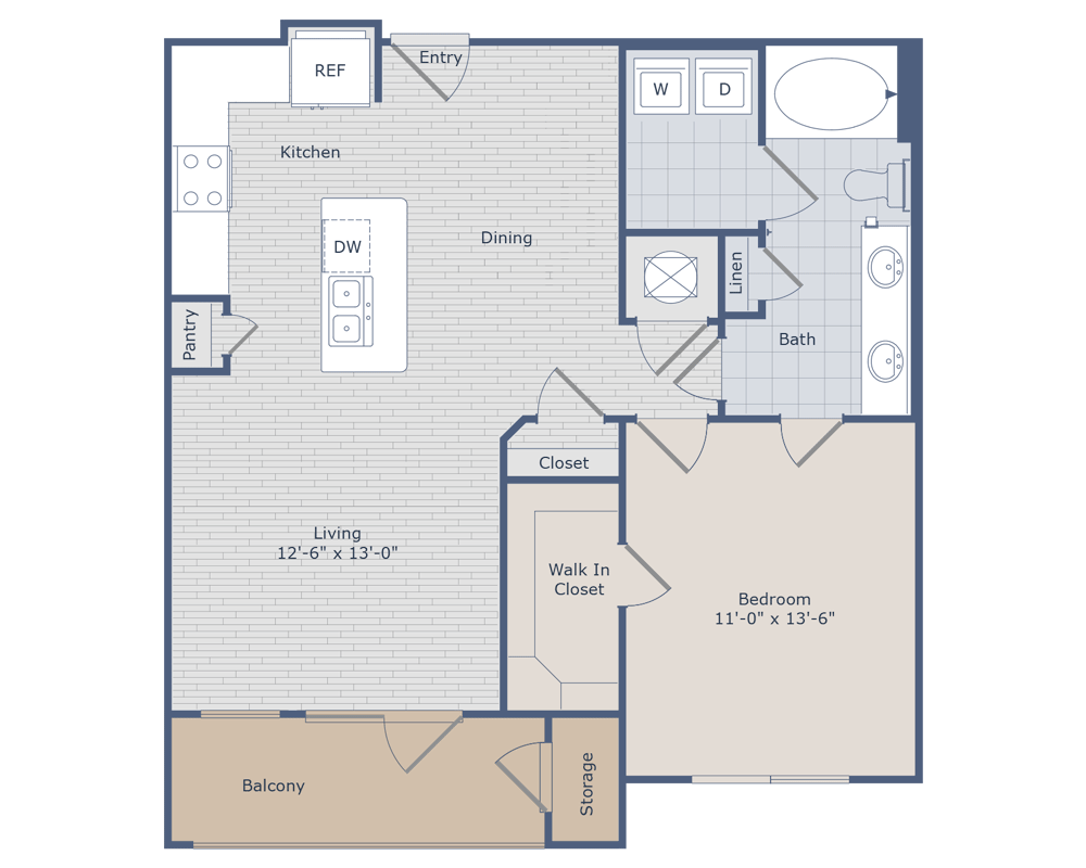 783 sq. ft. A4A floor plan