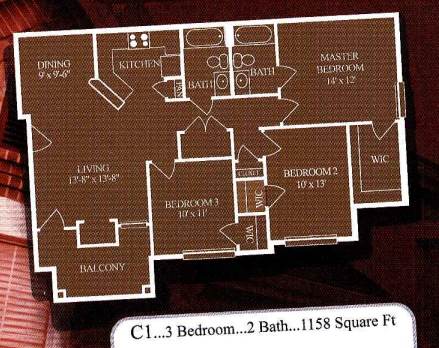 1,158 sq. ft. C1/60% floor plan