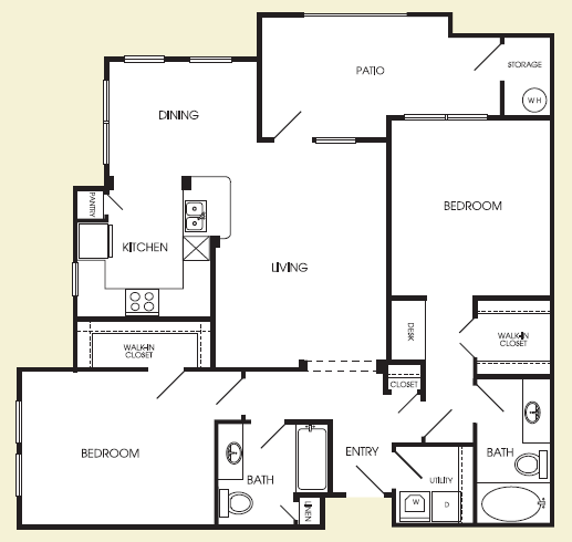 1,181 sq. ft. Tribeca floor plan