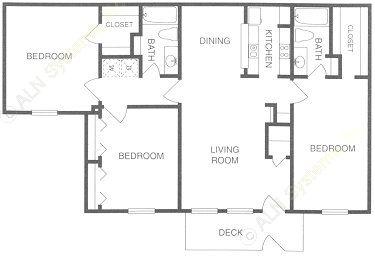 1,180 sq. ft. C floor plan